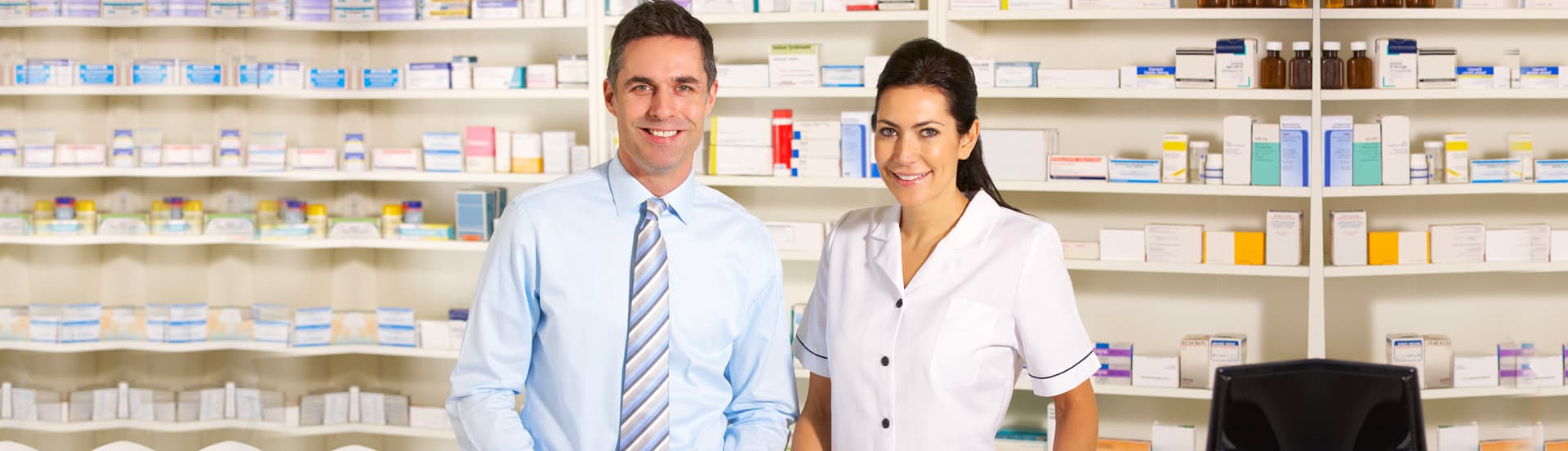 nurse and pharmacist smiling