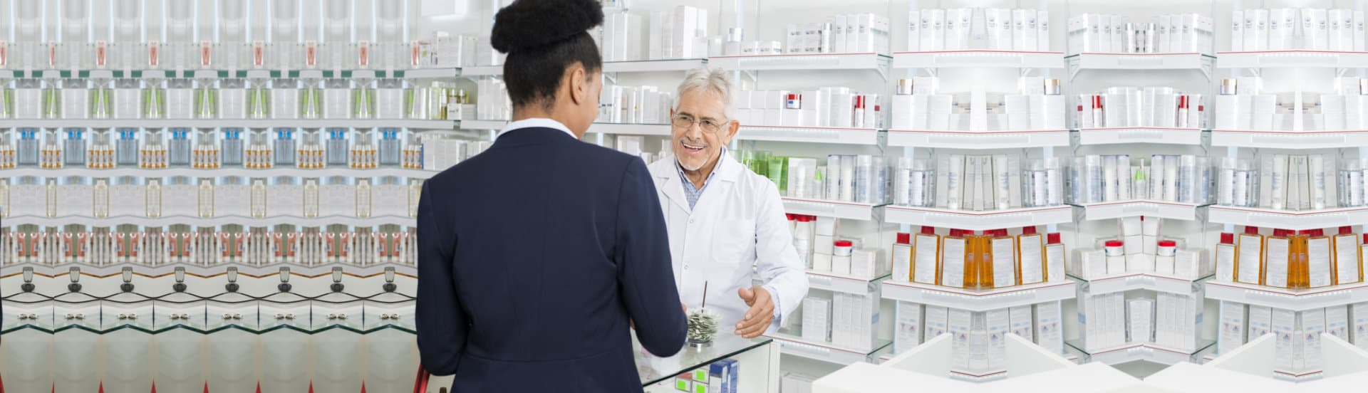 business woman talking to pharmacist