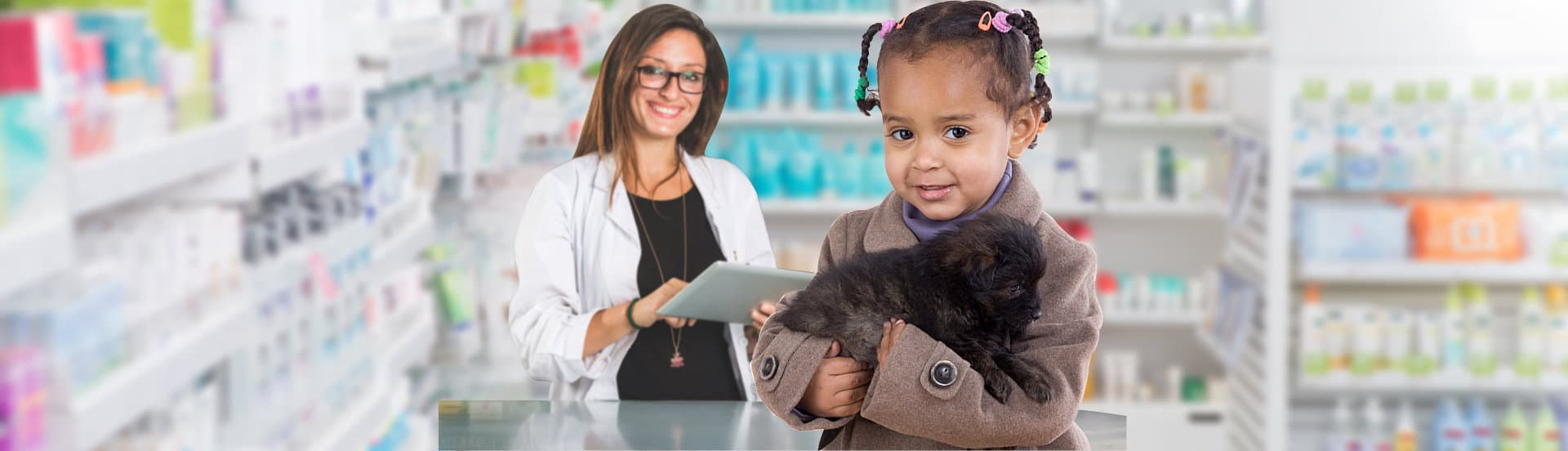 child with her pet and pharmacist