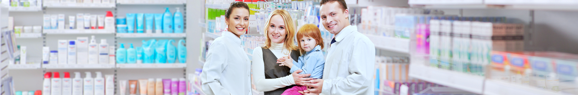 pharmacists, mother and a child smiling